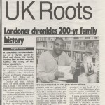 Newspaper clip about Londoner chronicles 200 year family history