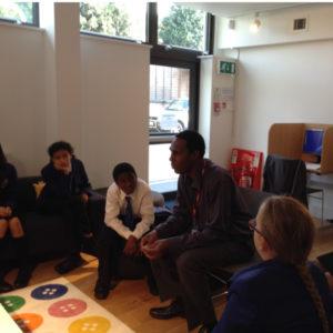 Paul Crooks speaking to school children